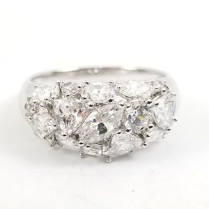 Platinum & Sterling Diamonique Multi-stone Ring